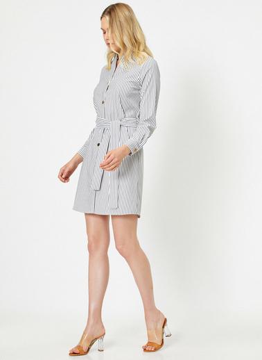 Koton Dügme Detayli Elbise Lacivert